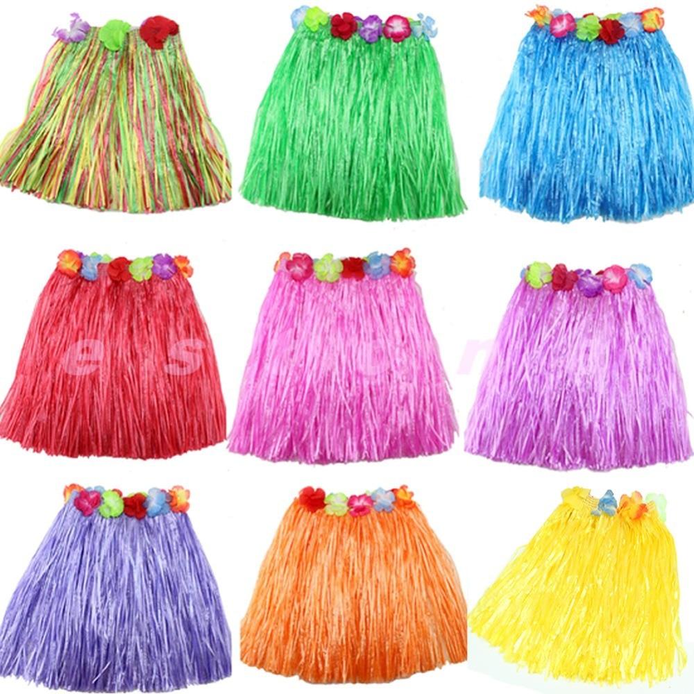 Girls Like Beautiful New Kinds Hawaiian Hula Grass Skirt Flower Party skirt Beach Dance Costume 2-5Y short skirt