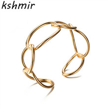 Minimalist wind hollow oval geometric modelling opening bangle bracelet female contracted personality Exaggerated
