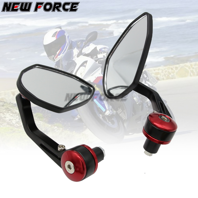 7 8 quot 22MM Full CNC Motorcycle Handlebar Bar End Rearview Rear View Side Mirrors Convex Glass Universal for Yamaha MT07 MT09 in Side Mirrors amp Accessories from Automobiles amp Motorcycles