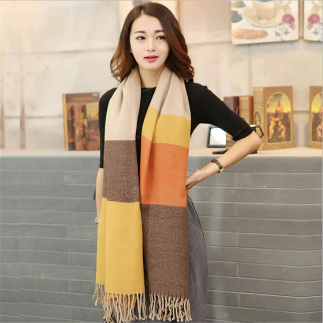 winter scarf women 2016 new fashion Korean lattice Pashmina Rainbow Super thickening Keep warm Cold bandana horse hijab shawl