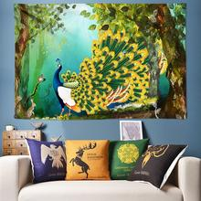 Peacock Tapestry Nature Forest Tree Fabric Wall Hanging Bohemian Psychedelic Tapestries for Living Room Art Decor