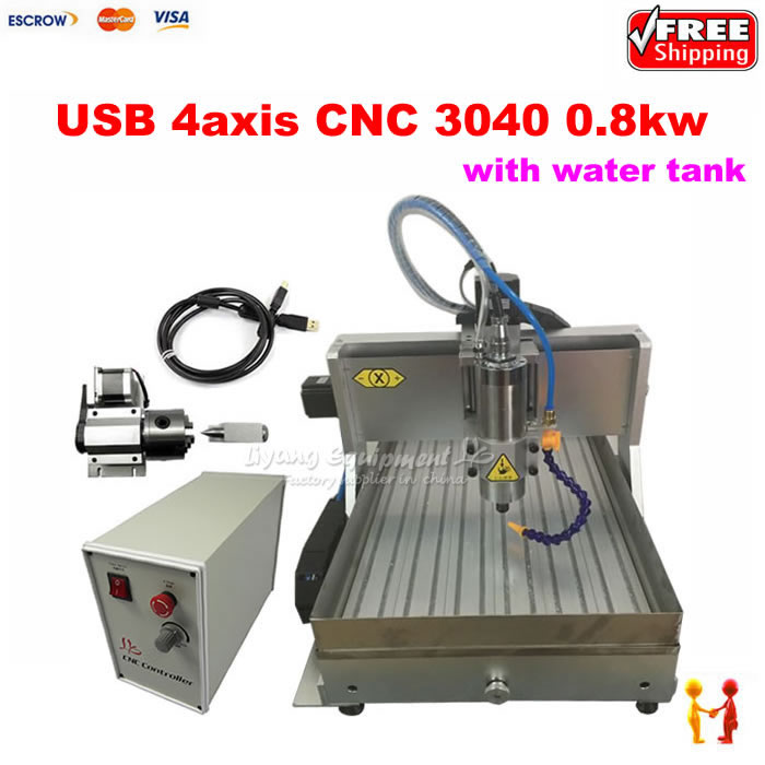 CNC router 30X40 800W 4axis engraving machine 40*30 Wood carving with limit switch USB port with water tank