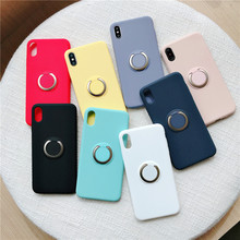 Korean Solid Silicone Case For Apple iPhone 6 6S 7 8 Plus X XR XS Max Silicone Cover Shockproof Finger Ring For Car Holder Stand цена и фото
