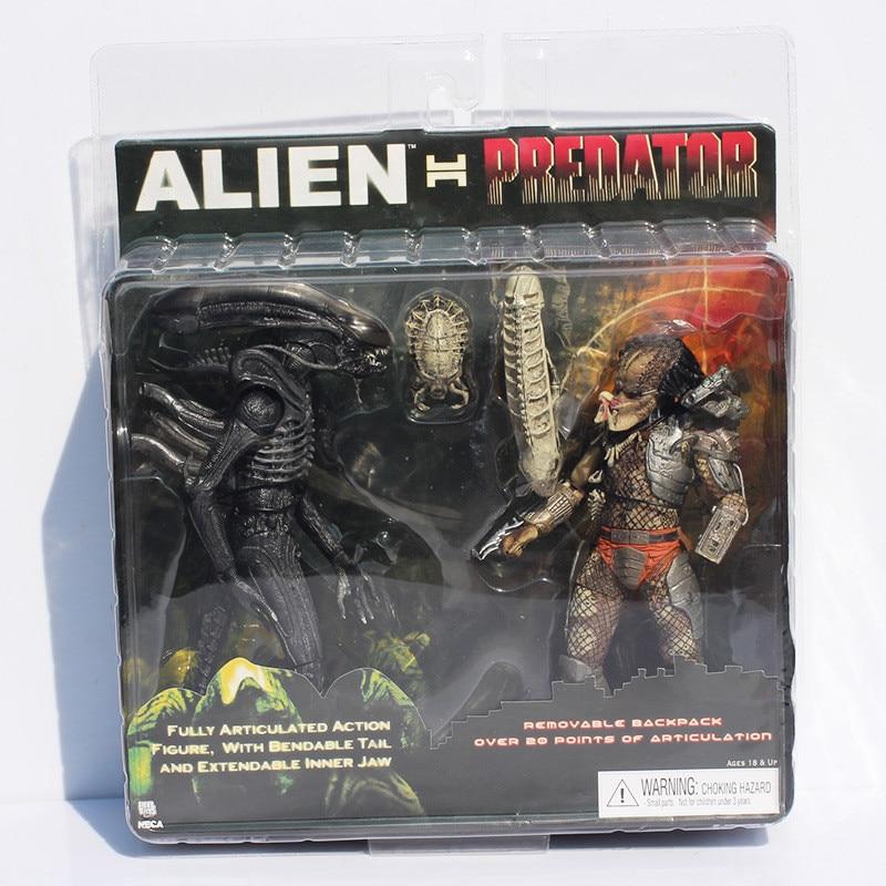 2 pièces/ensemble Alien VS Predator Jouets Chiffre Alien Predator Action PVC Figure Scar Predator Décoration Collection jouet modèle L1329