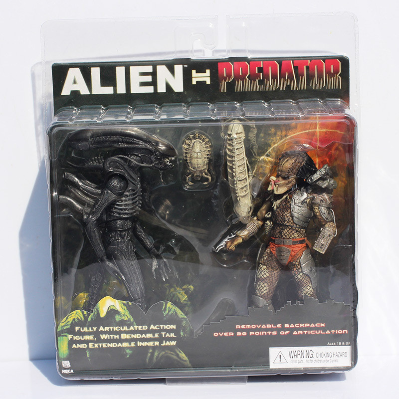 2pcs/set Alien VS Predator Toys Alien Figure Predator PVC Action Figure Scar Predator Decoration Collectible Model Toy L1329 zxs sucker toys educational oogi figure 2pcs set bule