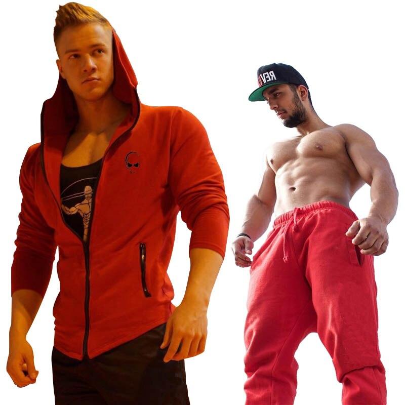2018 Hommes Ensembles de Mode Survêtements de sport Des Hommes Sportif Porter Hoodies + Pantalon Casual Outwear Costumes Rouge et noir aller avec il