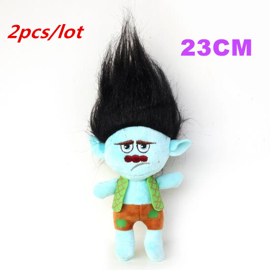 2pcs/set 23cm Fast Delivery Dreamworks Movie Trolls Toy Plush Trolls Black Hair Branch Figures Magic Fairy Hair Wizard Kids Toys