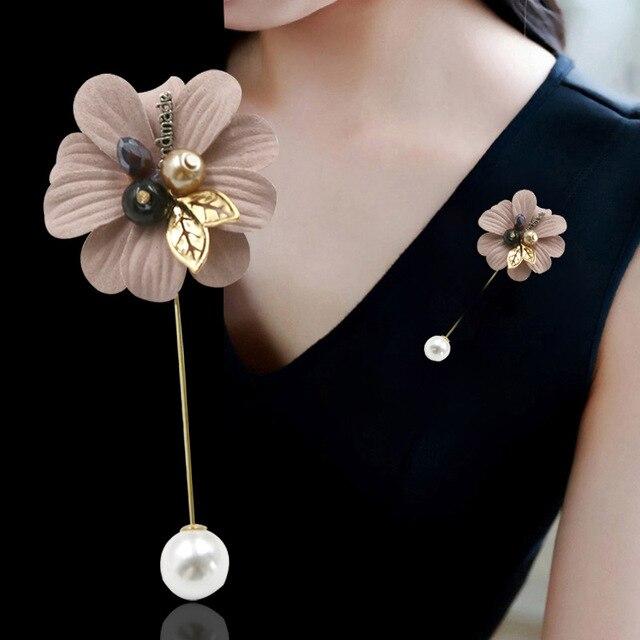 I-Remiel модная новая Корейская длинная игла брошь Ткань Искусство лацкан значок шаль застежка ткань цветок булавка для женщин ювелирные аксессуары