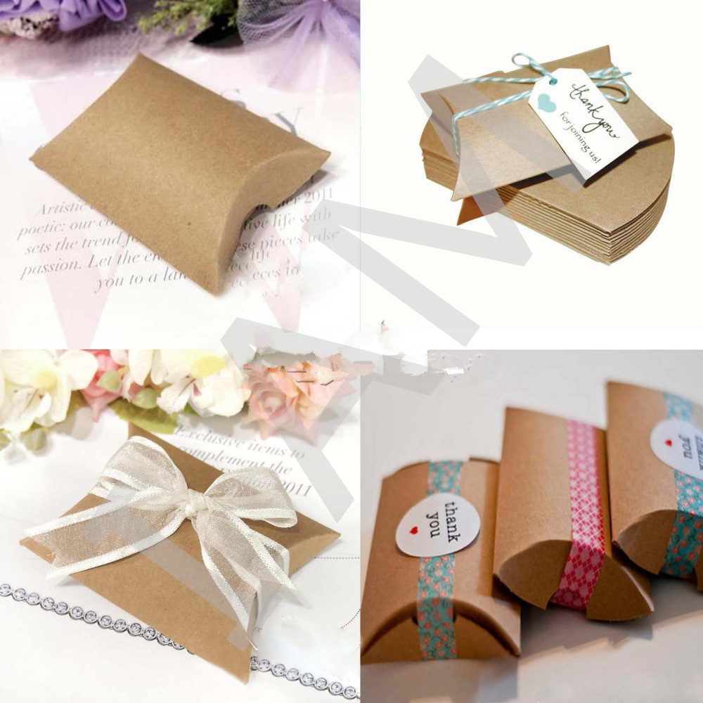 New 50Pcs/lot Wedding Gift Box Kraft Pillow Shape Wedding Favor Gift on pillow decorations, hat box favors, top note favors, book box favors, pillow candy, pillow boxes product, stampin up favors,