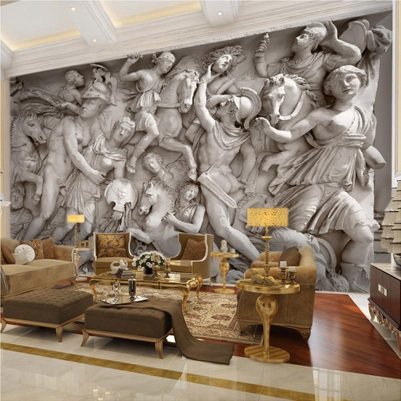 Custom 3D Wall Mural Wall Cloth European Style Retro Roman Statues Art Wallpaper Living Room Restaurant Backdrop Wall Coverings