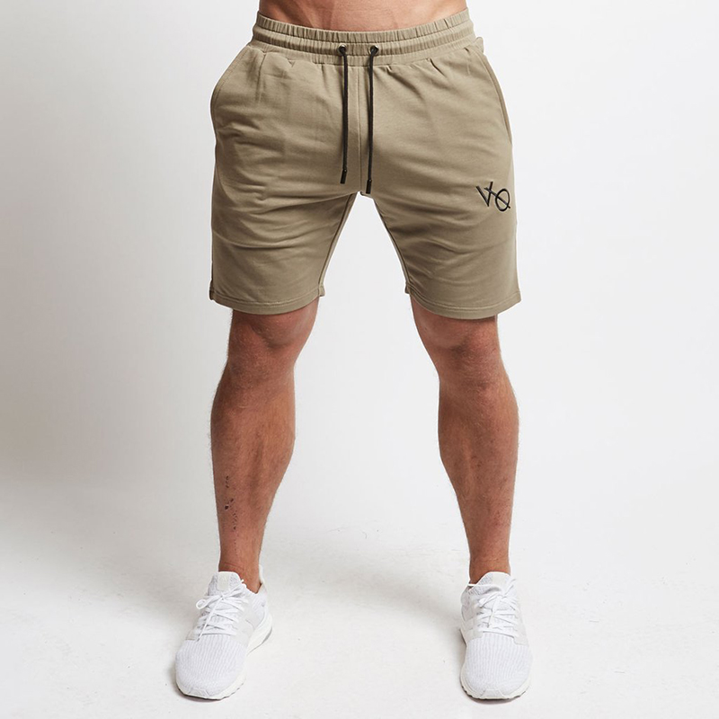 Mens Cotton Shorts Calf-Length Gyms Fitness Bodybuilding Casual Joggers Workout Brand Sporting Short Pants Stitching Sweatpants