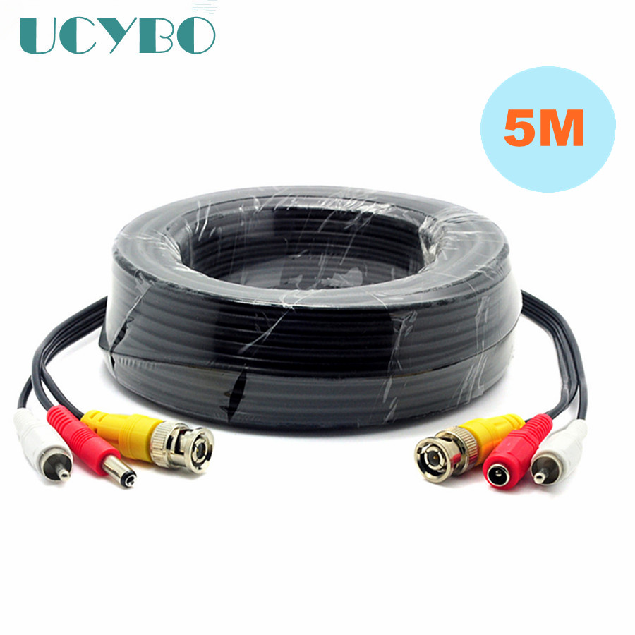 5M/16FT video surveillance BNC RCA DC Connector Video Audio Power Wire Cable For CCTV security Camera