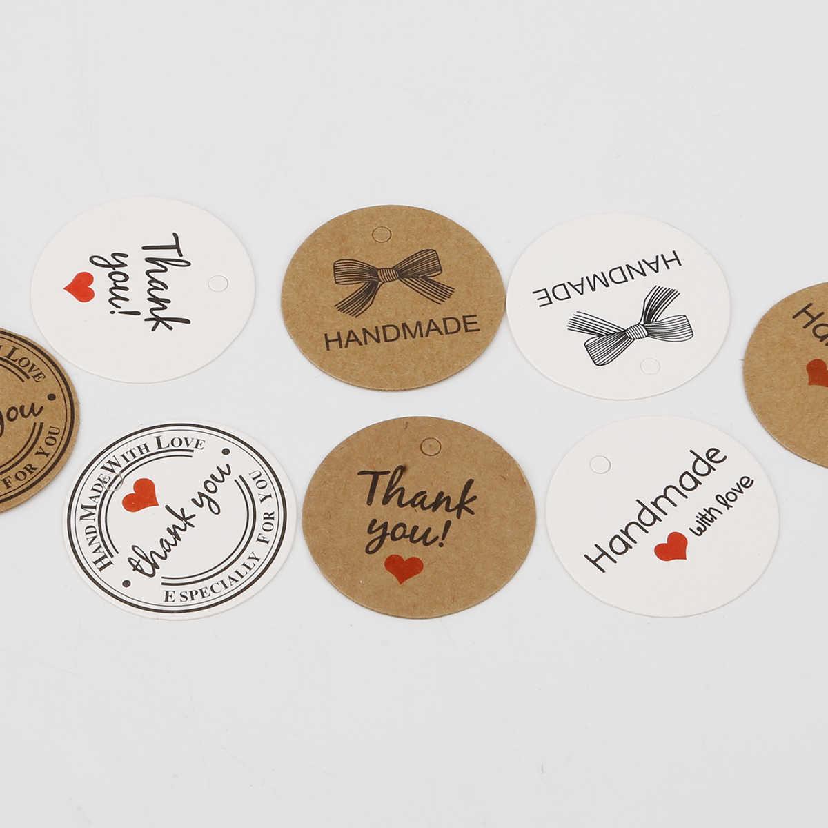 100 unids/lote, etiqueta de papel, etiqueta blanca y marrón, etiqueta cuadrada redondo para tarjetas de regalo de fiesta hechas a mano, etiqueta para hornear, joyería, dijes de decoración