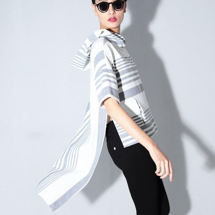 Women Fashion Casual Hooded Short Sleeve T-shirt Side Split Irregular Hem Stretch Super Street Striped Cotton Dresss Vestidos