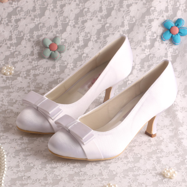 Princess Style Satin Women Wedding Shoes White Butterfly Medium Heel 6 5CM