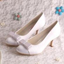 สไตล์เจ้าหญิงซาตินผู้หญิงรองเท้าแต่งงานสีขาวผีเสื้อส้นกลาง6.5เซนติเมตร