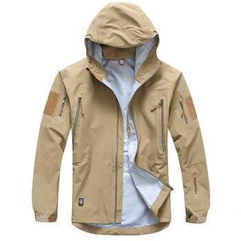 야외 방수 하드 쉘 군사 전술 재킷 남자 위장 후드 하드 쉘 얇은 압력 접착제 윈드 브레이커 코트 탑스