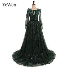 Verde elegante vestido de noite esmeralda moda vestidos de noite longos vestidos formais vestido de noite 2020 vestidos de ocasião especial yw013