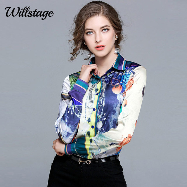 43d14e6701c Willstage Pattern Blouses Women Long Sleeve Printed Shirts Patchwork  Colorful Shirt OL office ladies Work Wear