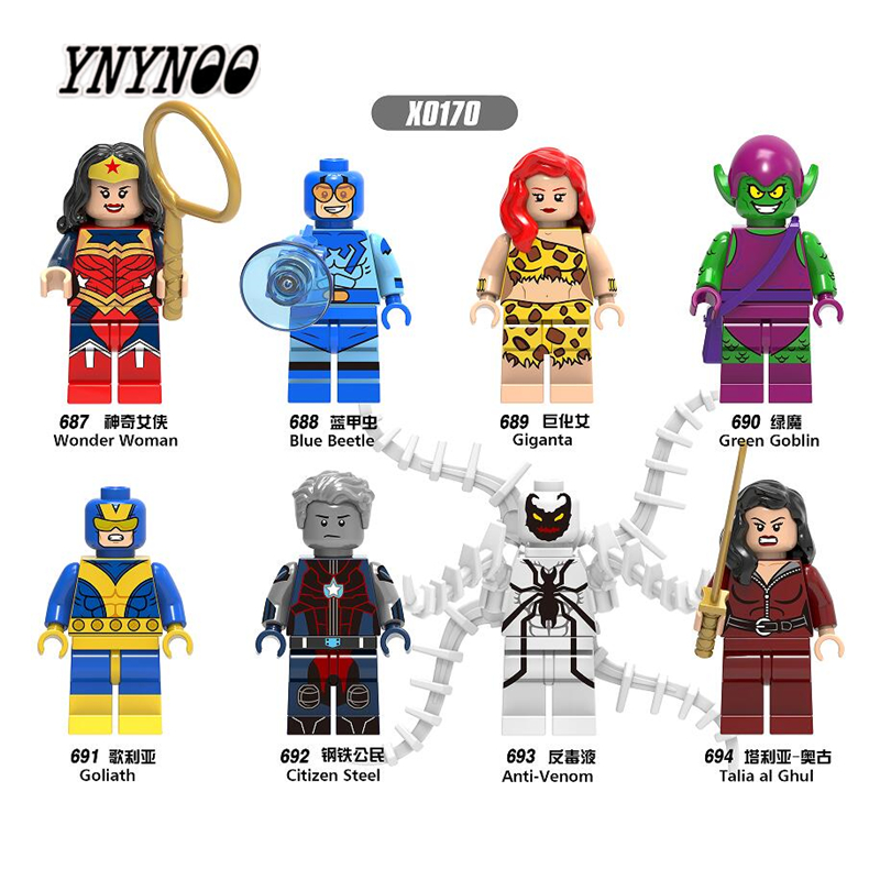 YNYNOO 8pcs X0170 Super Heroes Wonderwoman Talia al Ghul Citizen Steel Building Blocks Bricks Kids DIY Toys Hobbies Gift ...
