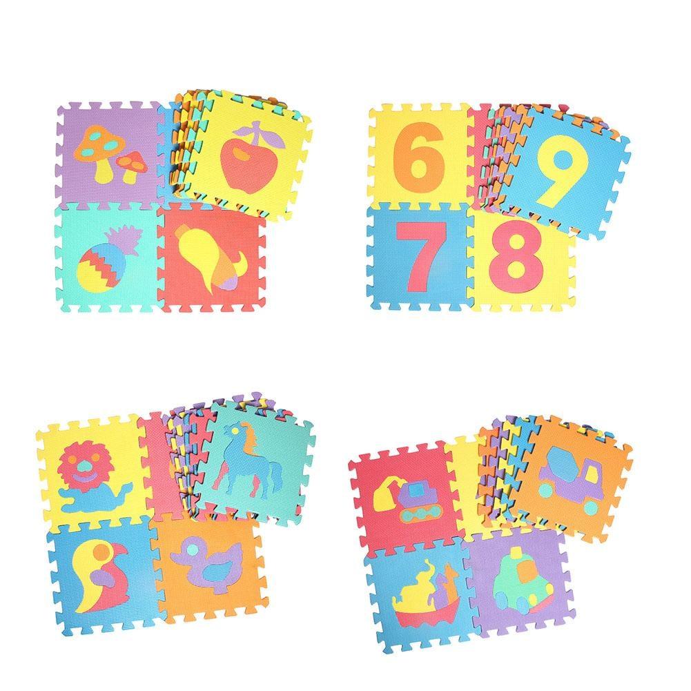10Pcs Animal Foam Puzzle Kids Rug Carpet Split Joint EVA Baby Play Mat Indoor Soft Activity Puzzle Mats Friuit Number
