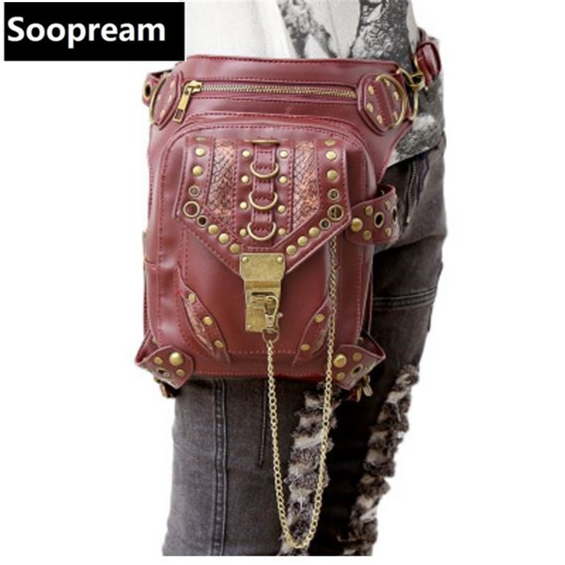 Hot sale PU Leather Punk Retro Rock Gothic belt bag Shoulder Bag Men women Waist Bag Packs Women Messenger fashion leg bag футболка wearcraft premium printio air white