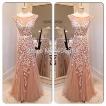 Real Photo Champagne Tulle Mermaid Evening Dress Sexy Open Back Floor Length Prom With Appliques 2015 New