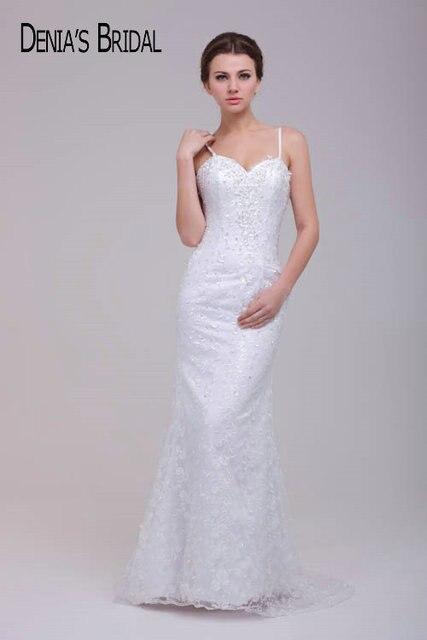Aliexpress.com : Buy Spaghetti Straps Sweetheart Sheath Lace Wedding ...