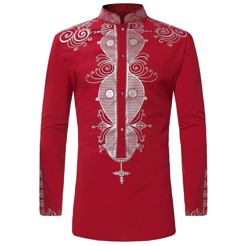 En gros Moyen-Orient Pays Hommes Chemises de Style Africain Ethnique Marque Designer Imprimé Grand et Grand Homme Chemise Hommes Vêtements S3058