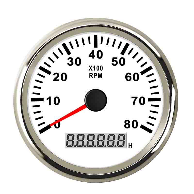 85 mm RPM Tachometer Gauge 0 8000 RPM Meter LCD Display Hourmeter With Backlight 9 32V
