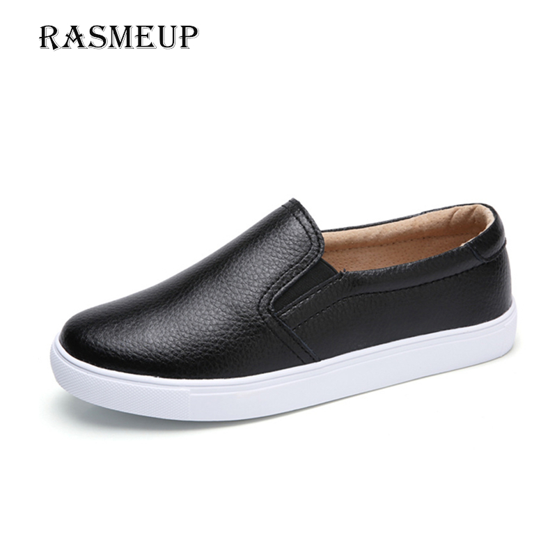 RASMEUP Genuine Leather Women's Slip-on Loafers Soft Comfortable Ballet Women Flats Woman Driving Shoes Footwear Plus Size 9 10 цена