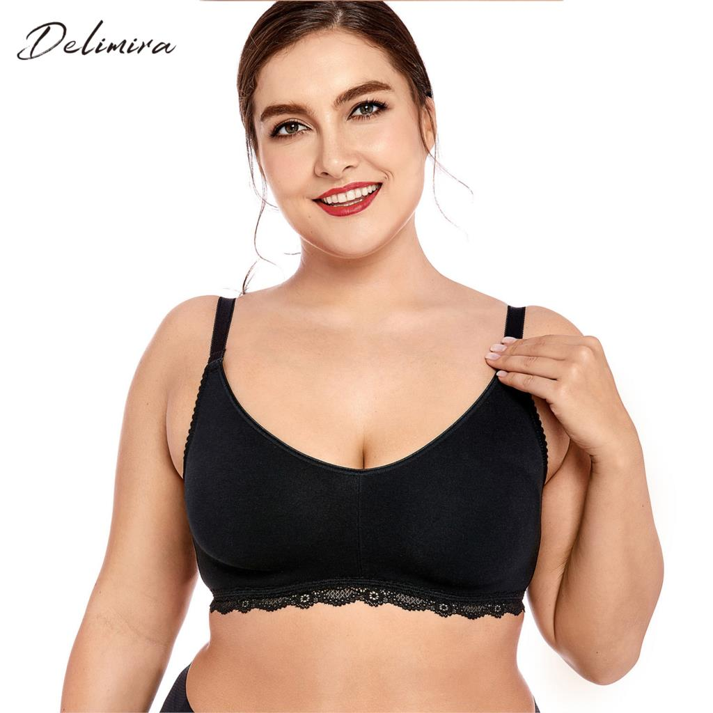 f1701610cb7 Delimira Women s Lace Soft Wirefree Non Padded Full Coverage Plus Size  Cotton Bra