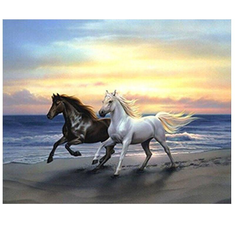 5d diy diamant peinture point de croix animaux diamant rond mosaïque image Deux cheval home decor diamant brodé animaux