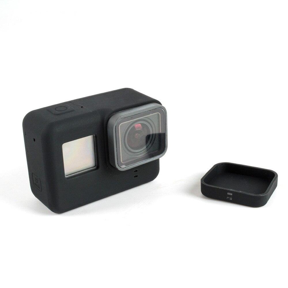 Funda de silicona para GoPro Hero 5 6 7 carcasa protectora móvil con protección de lentes