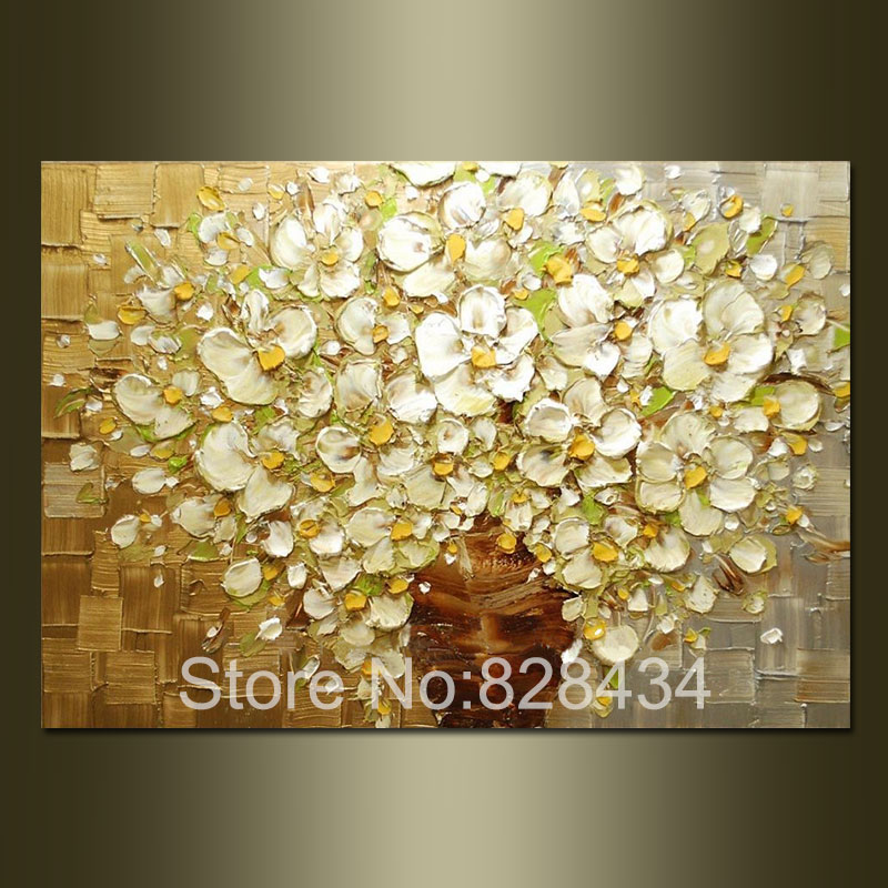100 Hand Painted Wall Art Abstract Painting Gold And Silver Background White Flowers Modern Household Adornment Picture In Calligraphy From Home