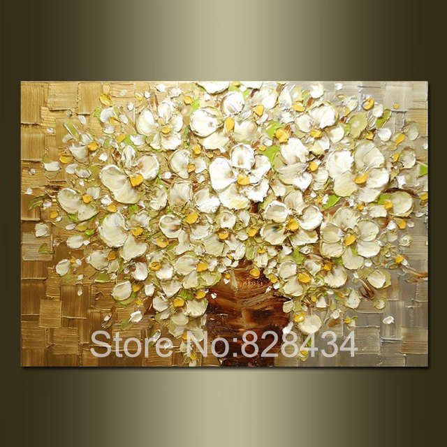 100% hand painted wall art abstract painting gold and silver ...