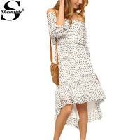Sheinside Women Summer Beach Black White Print Off The Shoulder High Low Dresses Cute Ladies New