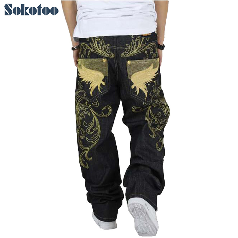 ФОТО Sokotoo Men's hiphop jeans loose plus size embroidery wings denim pants male large size hip hop long trousers Free shipping