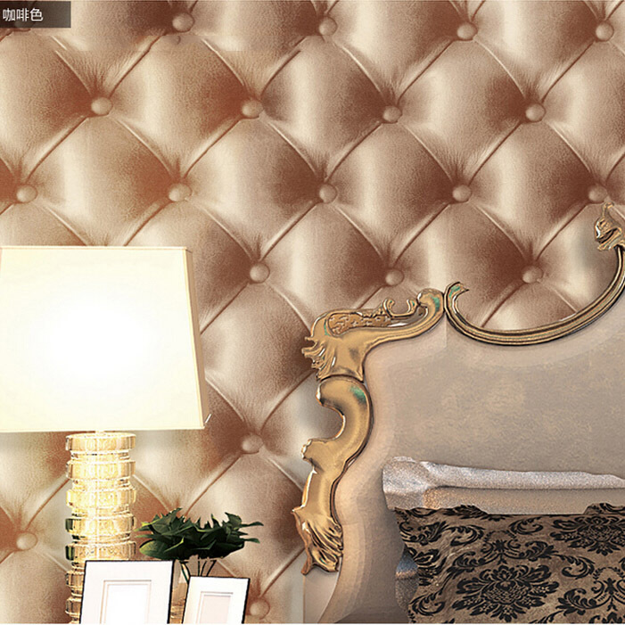 leather pvc waterproof brown wallpaper for super 3d wallpaper decorative in bedroom wall