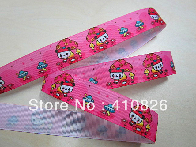 Q&N ribbon wholesale/OEM 1inch pink mushroom panda printed grosgrain ribbon 50yds/roll f ...