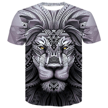 3D Lion T Shirt Men Animal Tshirt Sex Funny T Shirts Slim 3d Print T-shirt Hip Hop Tee Cool men clothes 2019 New Summer Top men abstract animal print tee