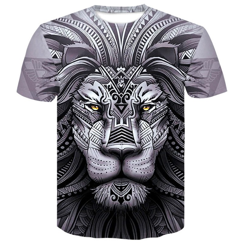 3D Lion T <font><b>Shirt</b></font> Men Animal Tshirt <font><b>Sex</b></font> <font><b>Funny</b></font> T <font><b>Shirts</b></font> Slim 3d Print T-<font><b>shirt</b></font> Hip Hop Tee Cool men clothes 2019 New Summer Top image