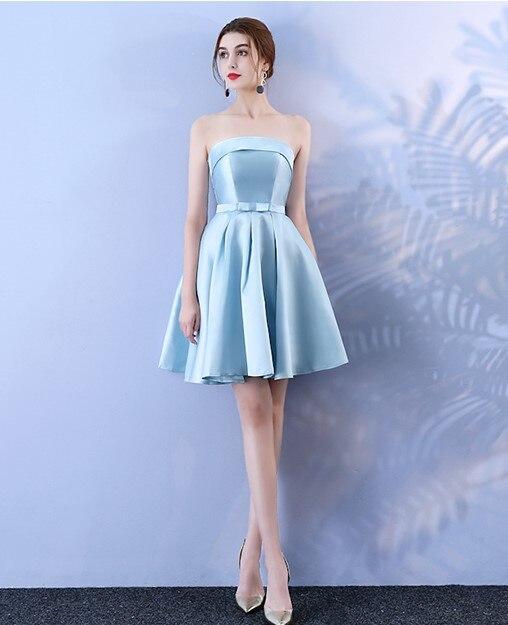 Mini Dress Bridesmaid Dress Wedding Guest Sexy Dress Sleeveless  Above Knee  Back Of Bandage Blue Colour