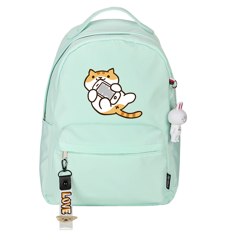 High Quality Neko Atsume Women Cat Backpack Kawaii Cute Backpack Pink School Bags Cartoon Travel Backpack Laptop Backpack