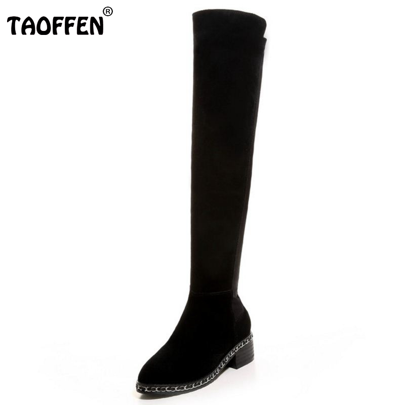 New Hot Autumn Winter Warm High Heels Botas High Snow Boots Real Genuine Leather Female Over The Knee Shoes Size 33-41 hot sale top quality real leather woman shoes winter over the knee high boots long tube high female wedge heeled booty