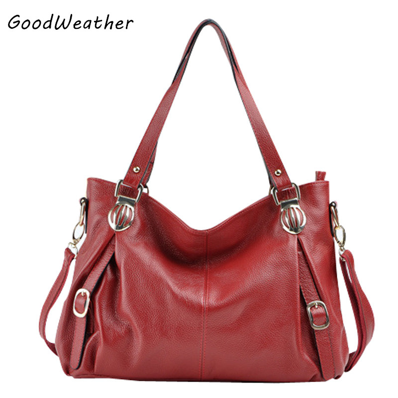 ФОТО New high quality genuine leather women handbag designer large capacity shoulder bag fashion scarlet zipper laides messenger bags