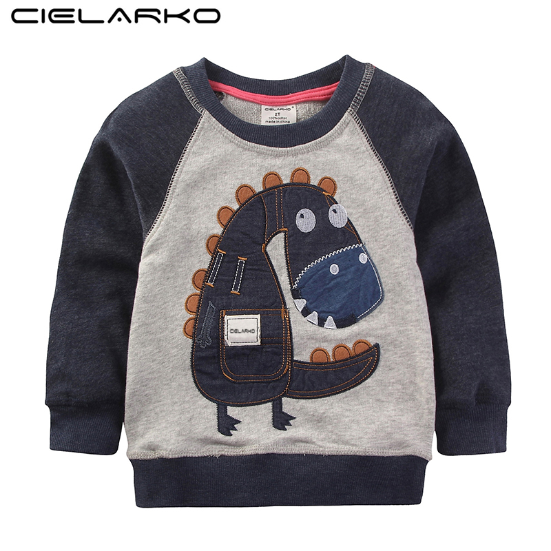 Cielarko Boys T Shirts Autumn Long Sleeve Tops Kids Dinosaur Appliques Cotton Sweatshirt Children Boys Shirts Clothing Raglan appliques raglan sleeve zip up jacket