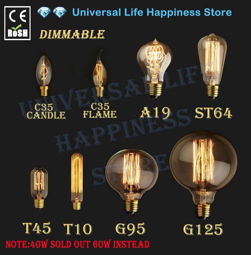 60 w 40 w vintage antigo estilo retro iluminação filamento edison lâmpada e27 110 v 220 v g125 g95 st64 t45 a19 t10