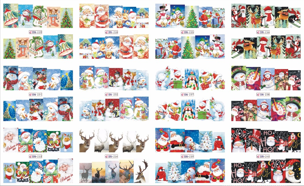 On sale !!   1lot by 20 papers  12  New Style Nail Art Water Sticker Christmas trees and  shoes in 2016 for  BN229-240