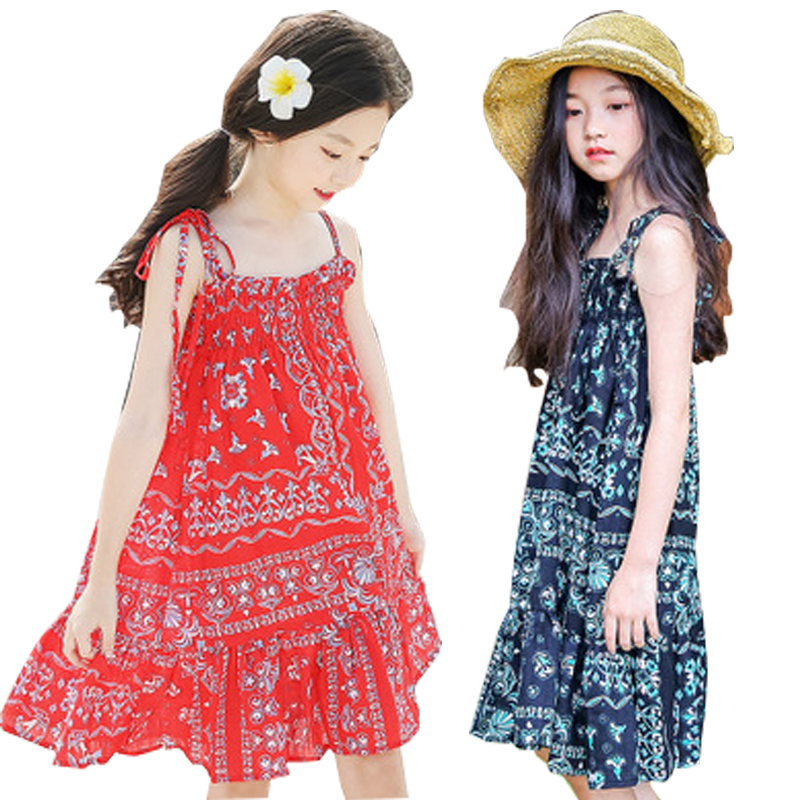 2018 Summer Girls Dress Baby Girl Slip Princess Dress Floral Children Clothes Casual Cotton Beachwear Dress kids Clothing 6-15Y clearance baby dresses princess girls dress 2 5years cotton clothing dress summer clothes for girl
